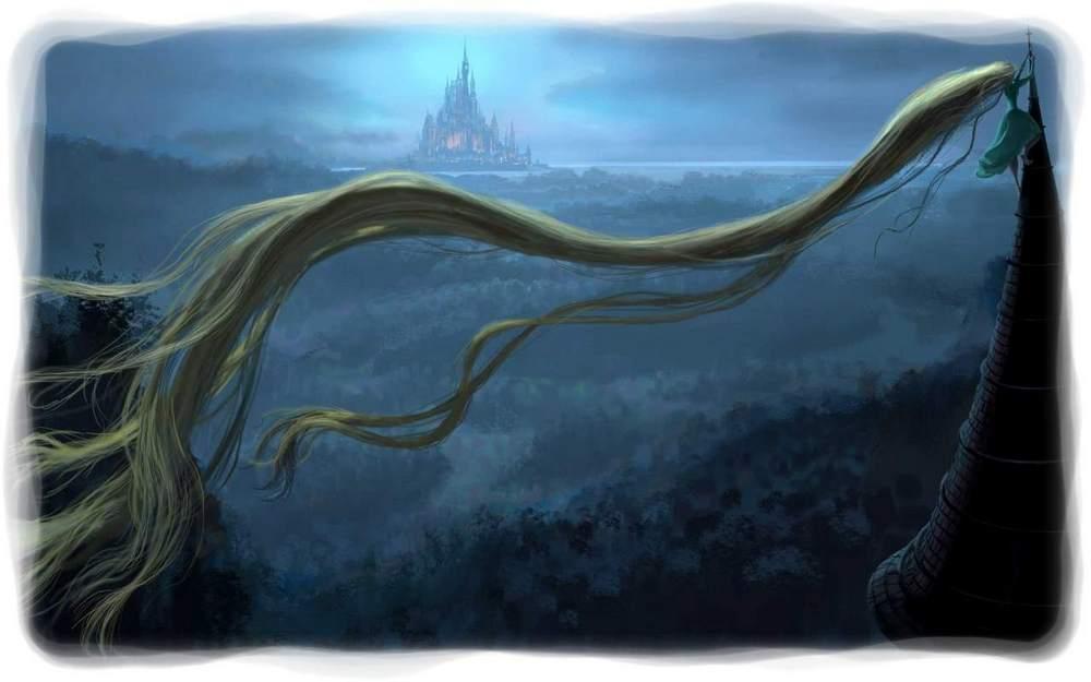 Rapunzel en la cima de la torre