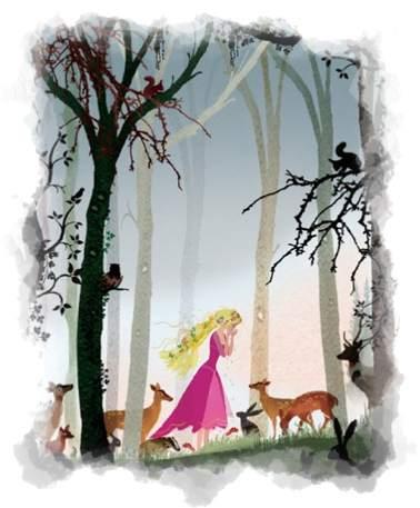 Rapunzel huyendo en el bosque