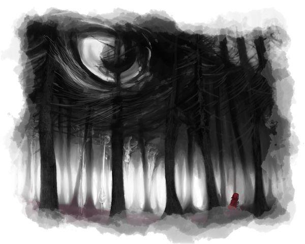 Caperucita roja sola en el bosque