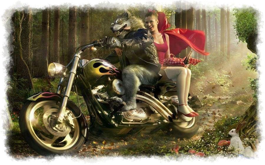 Caperucita en moto con el lobo