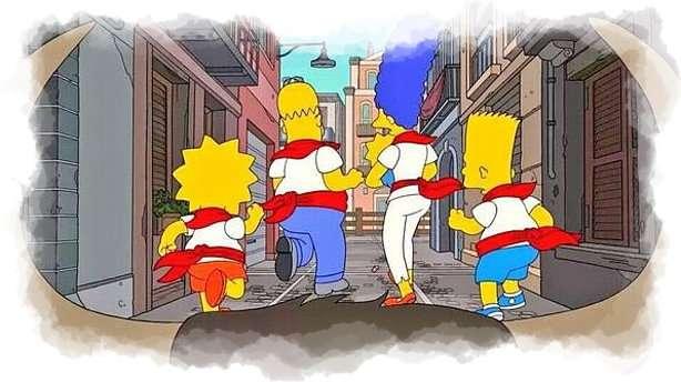Familia Simpson perseguida por un toro en los Sanfermines