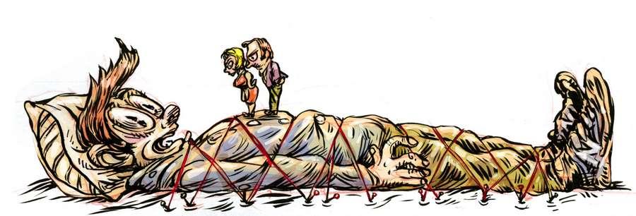 Padres atan a su hijo como Gulliver