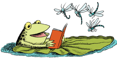 read_a_book_frog_&_dragonflies