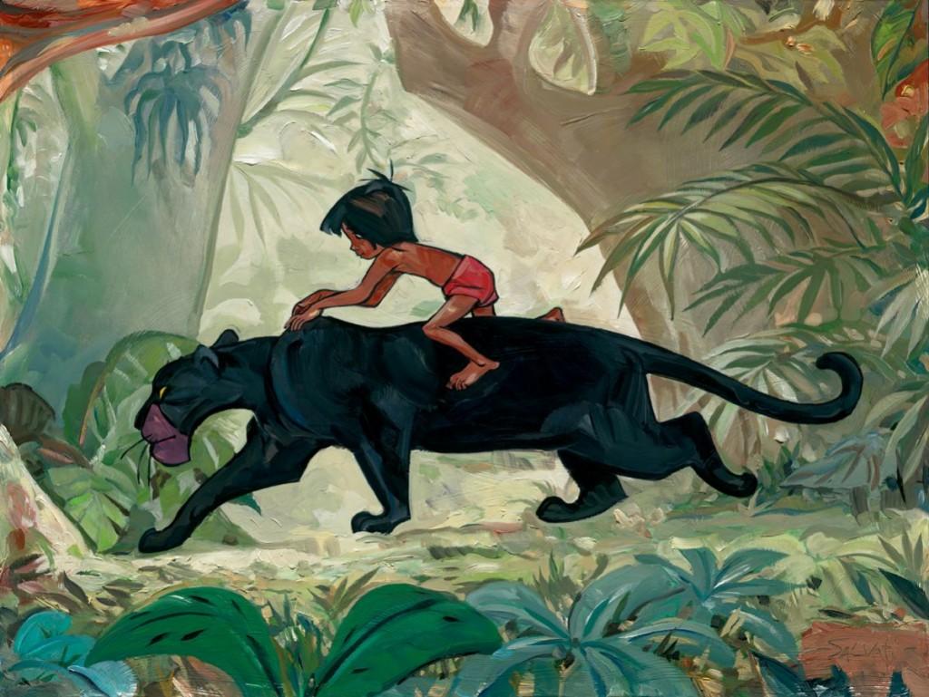 Mowgli a lomos de Bagheera
