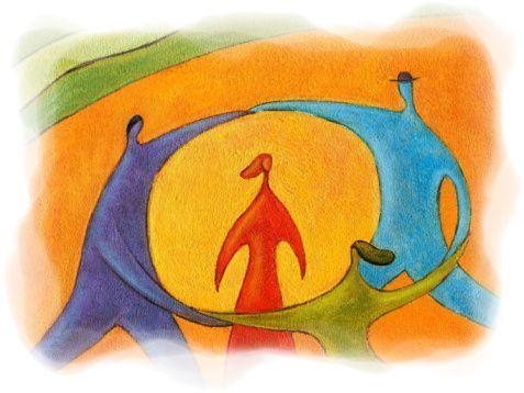 Baile y danza alrededor de una persona