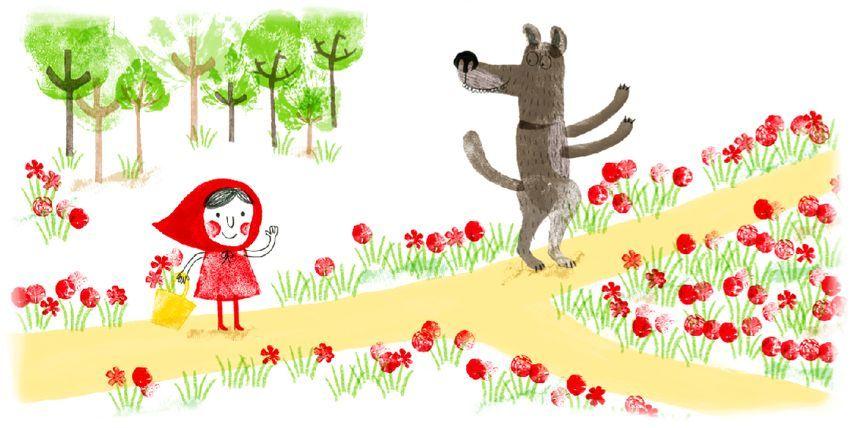 Caperucita roja se encuentra con el lobo