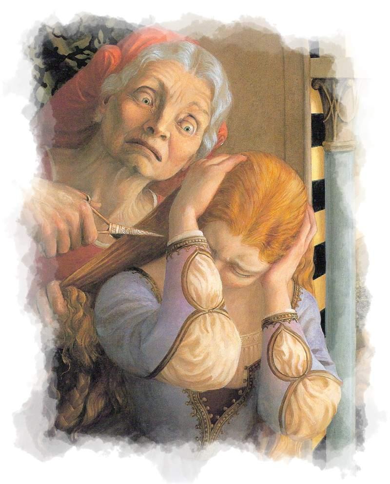 Bruja cortándole el pelo a Rapunzel