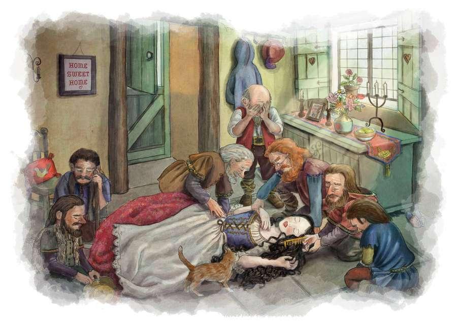 los enanitos encuentran a Blancanieves inconsciente